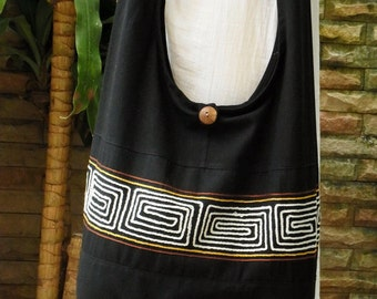 Hobo Boho Hippie Crossbody Bag Purse Large Cotton Simple Patchwork Maze Embroidery with Zipper Black
