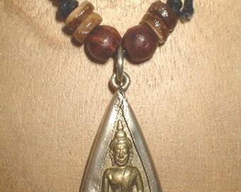 Brass Buddha pendant on chord necklace, Buddha necklace, Buddha Halskette, collier de bouddha