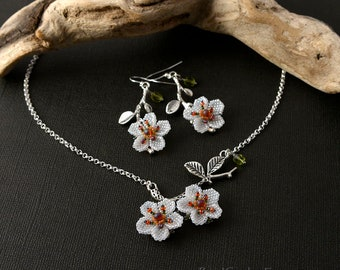 Cherry blossoms spring earrings & necklace