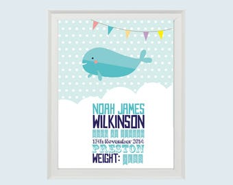 Birth Announcement Print • Instant Download • Personalised Gift New baby • Christening • Nautical Whale