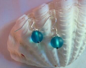Blue Earrings on Silver Ear Wires, Earrings, Blue, Sea Blue