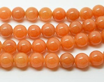 """15.5"""" Natural Red  Aventurine  Gem  Smooth  Round  Bead  --8MM"""