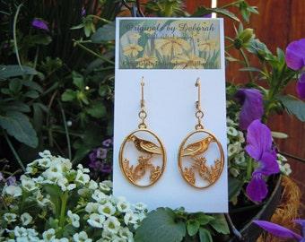 E336 Bird Watchers Rejoice 18kt gold earrings