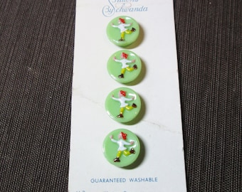 Set of 4 Carded Green Glass Schwanda Ice Skater Buttons