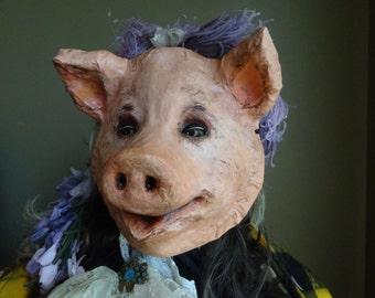 Animal mask, pig mask, pig costume, paper mache mask, masquerade mask, Halloween mask, Mens masquerade