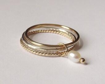 Pearl Ring Set, Mixed Metals Ring Set, Textured Rings, Boho Ring Set, Stacking Rings, Boho Chic, Interlocking Rings, Freshwater Pearl