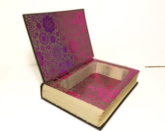 Hollow Book Safe The Source Cloth Bound vintage Secret Compartment Box Hidden Security Box