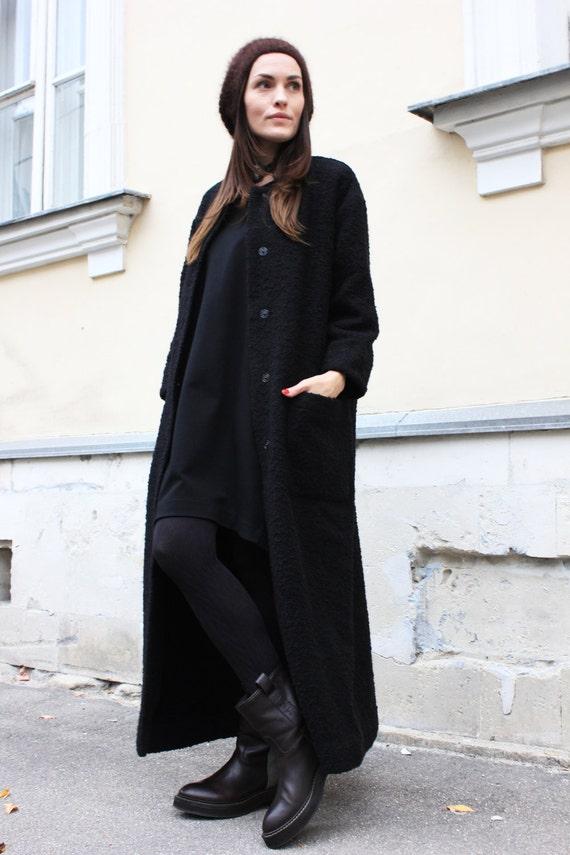 schwarzer mantel langen mantel warmen wintermantel. Black Bedroom Furniture Sets. Home Design Ideas