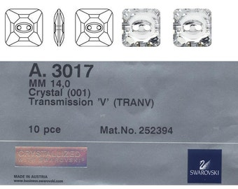 Swarovski square button 3017 14mm crystal transmission.  Price is for 10 buttons