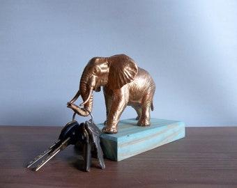 Elephant Key Holder, Entryway Decor, Ring Holder, Gold Decor, Rustic Key Holder, Metallic Gold, Boho, Bohemian Decor, Entryway Organizer