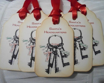 Vintage Inspired Santa's Headquarters Gift Tags