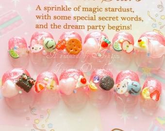 Kawaii, fairy kei, Japanese, 3D fake nails, pink glitter tips, miniature clay foods, kawaii animal