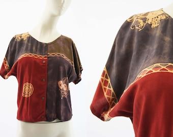KENCANA Ethnic Print Burnt Sienna Dolman Sleeve Wooden Button Front Hippie Bohemian Festival Blouse