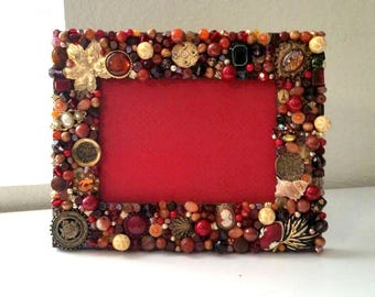 Fall Themed Jeweled Picture Frame Mosaic 8in x 10in