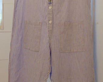 Vintage April Cornell Striped Cotton Jumpsuit Coveralls Large