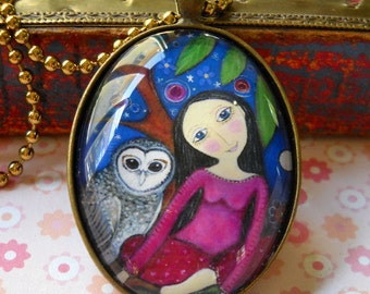Girl and Owl Necklace bronze Oval Pendant Gift for friend Bronze Setting owl jewelry jewellery maya art gift for sister daughter whimsical