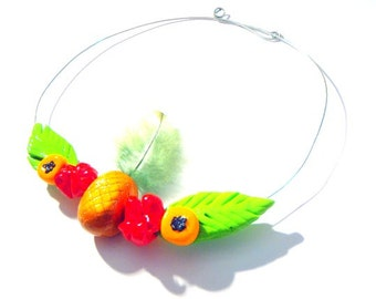 Necklace, choker EXOTIC, polymer clay tropical necklace pineapple, maracuja, hibiscus and wire, handmade by The Sausage