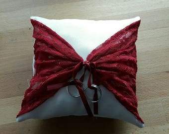 Pillow 18x18cm beige and Burgundy
