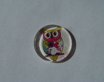 Cabochon 25 mm round and flat with pink and green owls image very colorful