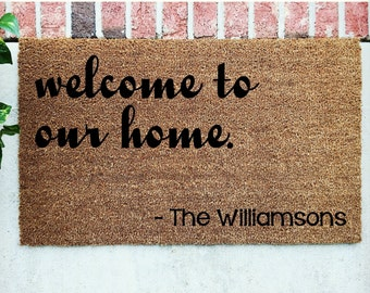 Personalized Door Mat // Welcome to our Home Mat // Hand-Painted Door Mat // Personalized Welcome Mat // Welcome Door Mat // Custom Door Mat