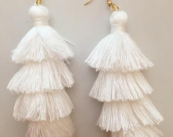White Layered Tassel Earrings