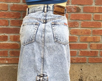 Jordache Pencil Skirt - Acid Wash - 80's Skirt - High Waisted -