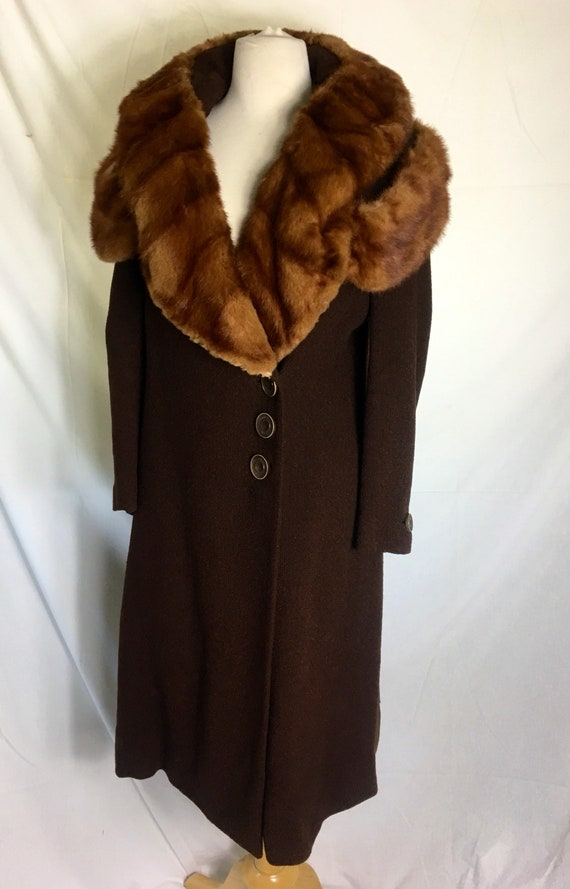Vintage 1930s Red Mink Trimmed Brown Wool Coat Small Medium