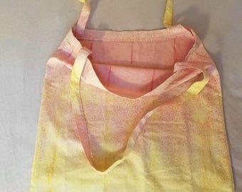 Yellow/Pink Ombre Tie-Dyed Foldable Tote