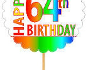 Happy 64th Birthday Rainbow Cupcake Decoration Topper Picks -12pk