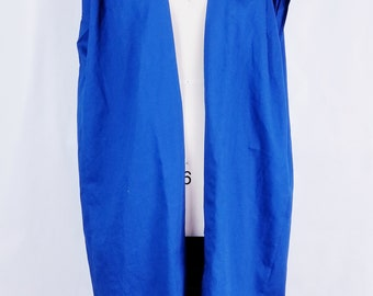 blue,cotton, vest, jacket, coat, sleeveless, pleated shoulders