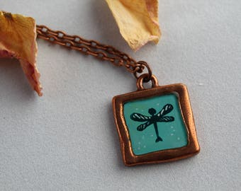 Handmade Painted Dragonfly Pendant Necklace