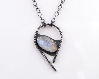 Rainbow Moonstone - London Blue Topaz - Sterling Silver - Beaded - Necklace