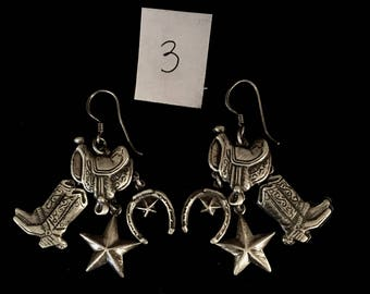 One pair Vintage Native American Sterling Silver earrings