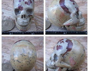 """2.0"""" 3.3oz 93.4g Unknown Dendritic Stone Skull Realistic Crystal Healing Magick Metaphysical Mystic Reiki Wicca Large 2 inch Cream SK906"""