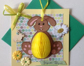 Happy Easter card, vintage, made in 3D, easter card, Easter eggs, Lapine