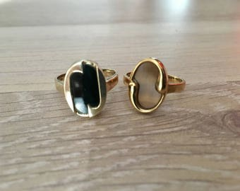 """Ring set * """"Yin & Yang"""" * wedding rings / partner rings made of 925 Silver with Onyx and Tiger's eye"""