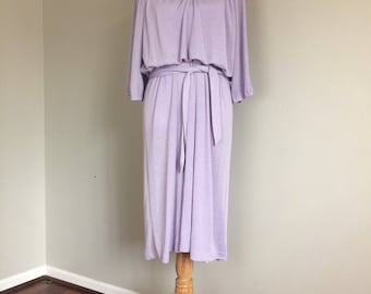 70's Light Purple/Metallic Blouson Dress