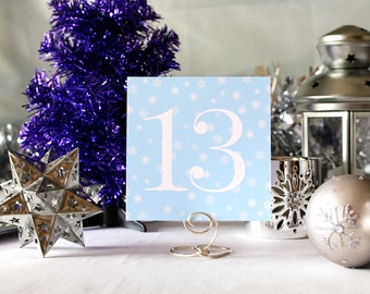 Winter Snow Wedding Table Number Romantic Powder Blue Christmas Party New Year's Eve