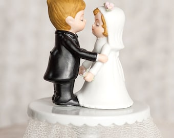 Cute Classic Bride and Groom Wedding Cake Topper - Custom Painted Hair Color Available - 103758