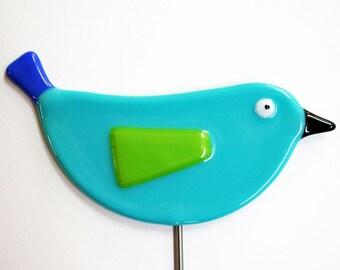 Glassworks Northwest - Turquoise Bird Plant Stake - Fused Glass Garden Art
