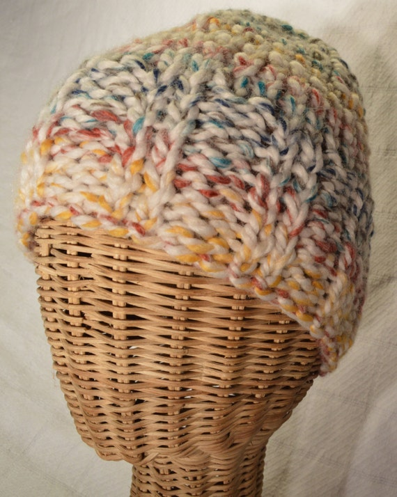 Chunky Ribbed Beanie w/ Elf Top Finish Warm Winter Hat