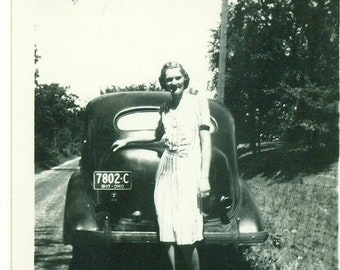 1940s Ohio Woman Standing on Dirt Farm Road Behind Car 40s Vintage Photograph Black White Photo