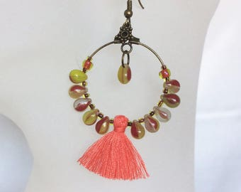 Earrings ethnic, Creole bronze, turquoise drops and Red coral tassel