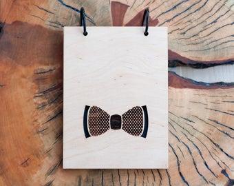 Wooden bowtie notebook   Sketchbook   Plywood notebook