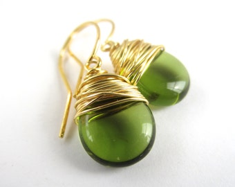 Green Earrings Wire Wrapped Earrings Green Jewelry Green Dangle Earrings Wire Wrapped Jewelry Handmade Tear Drop Earrings