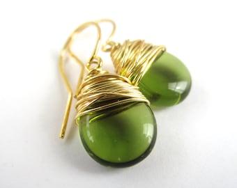 Green Earrings Wire Wrapped Earrings Green Jewelry Green Dangle Earrings Wire Wrapped Jewelry Handmade Tear Drop Earrings
