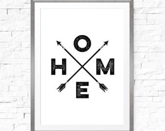 Printable art, Home arrow sign, Arrow decor, Affiche Scandinave, Home arrow print, Decorative arrows, Housewarming gift, Home decor
