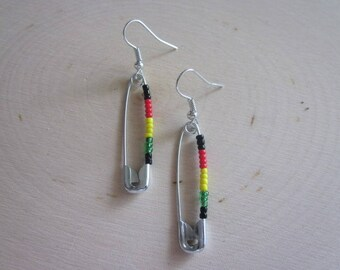 Recycle African Safety Pins Earrings-/ Ethnic / Tribal / Seadbead / Beaded / Maasai / Reggae / Gift