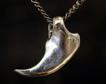 Bear Claw Necklace Silver Bear Claw Pendant Woodland Necklace 020