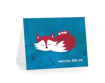 New Baby Card - Fox Baby Shower Card - New Baby Gift